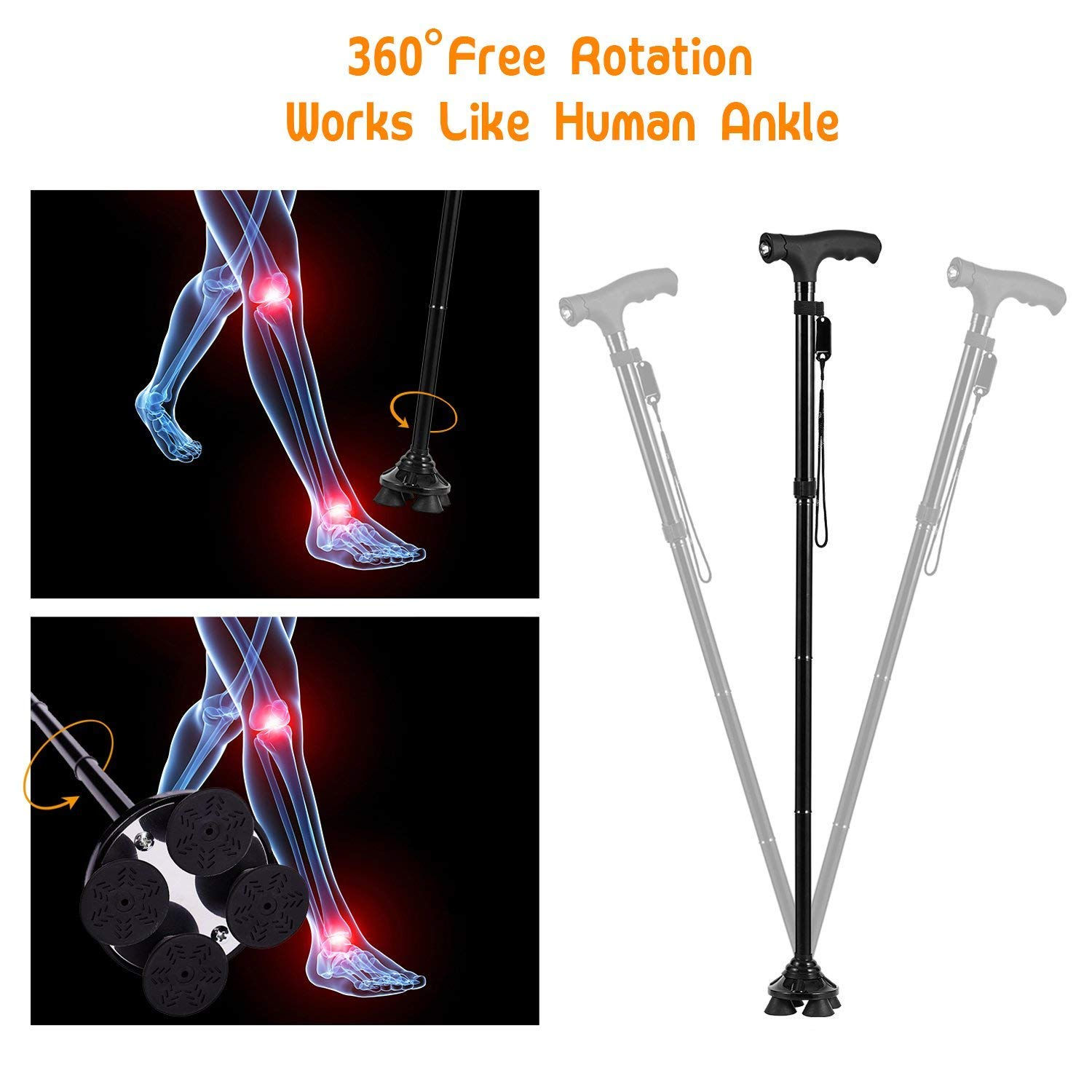 BigAlex Folding Walking Cane with LED Light,Adjustable & Portable Walking Stick, Lightweight,Collapsible with Carrying Bag for Men/Woman(Large) by BigAlex (Image #2)