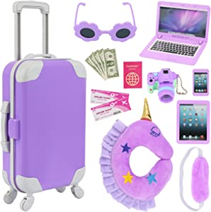 K.T. Fancy 16 pcs American Doll Accessories Suitcase Travel Luggage Play Set for 18 Inch Doll Travel Carrier, Sunglasses Camera Computer Phone Pad Travel Pillow Blindfold Passport Tickets Cashes