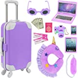 K.T. Fancy 16 pcs American 18 Doll Accessories Suitcase Travel Luggage Play Set for 18 Inch Doll Travel Carrier, Sunglasses C