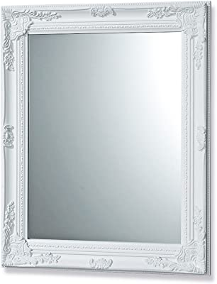 "Whole House Worlds The French Country Style Rustic White Framed Mirror, Hand Crafted, Sustainable Wood, Rectangular Frame With Bevel, Florals and Bead Edge, Brilliant Glass, 24 3/8 L x 32 ¼"""" H, By"