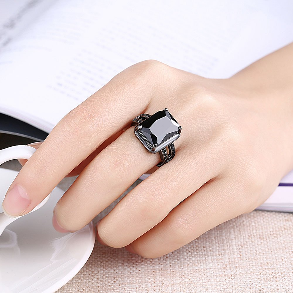 Amazon.com: AWLY Jewelry Women 18k Black Gold Square Large Stone ...