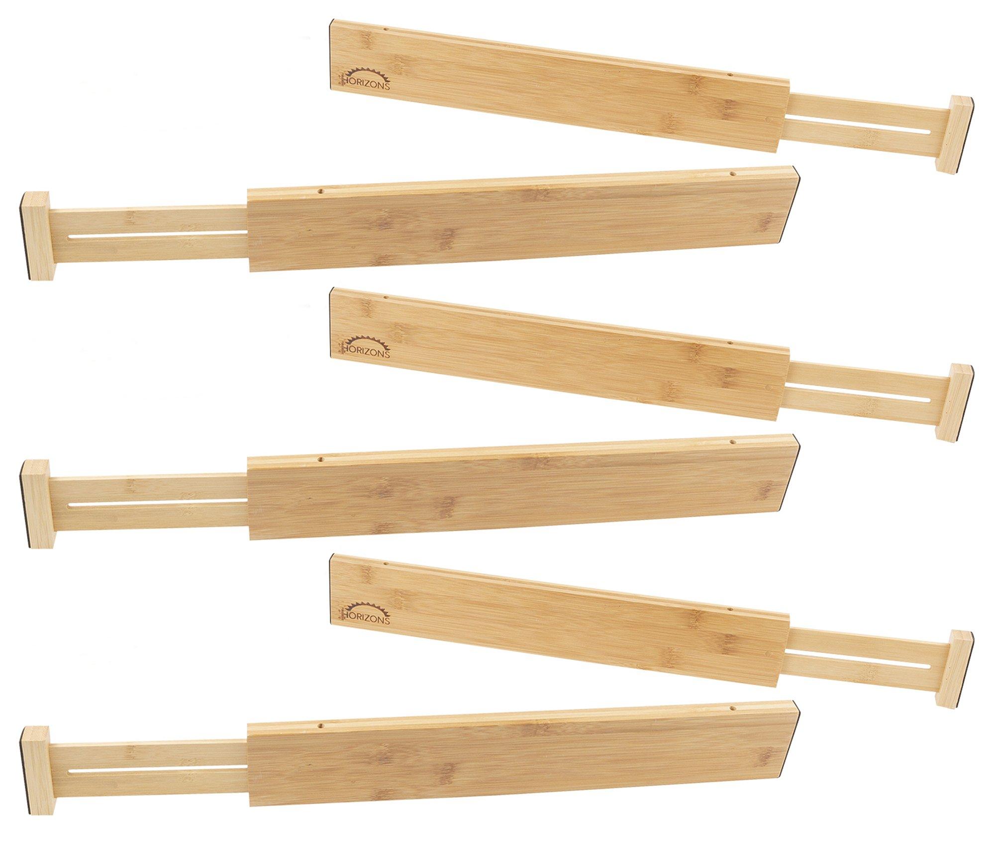 Horizons Adjustable & Stackable 100% Eco-Friendly Bamboo Drawers (Set of 6) - Kitchen Drawer, Desk, Dresser, Bathroom; Divide & Organize