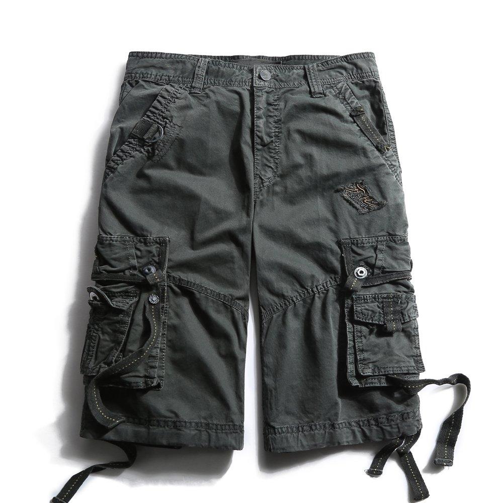 OCHENTA Men's Cotton Loose Fit Multi Pocket Cargo Shorts #3233 Dark Grey 40
