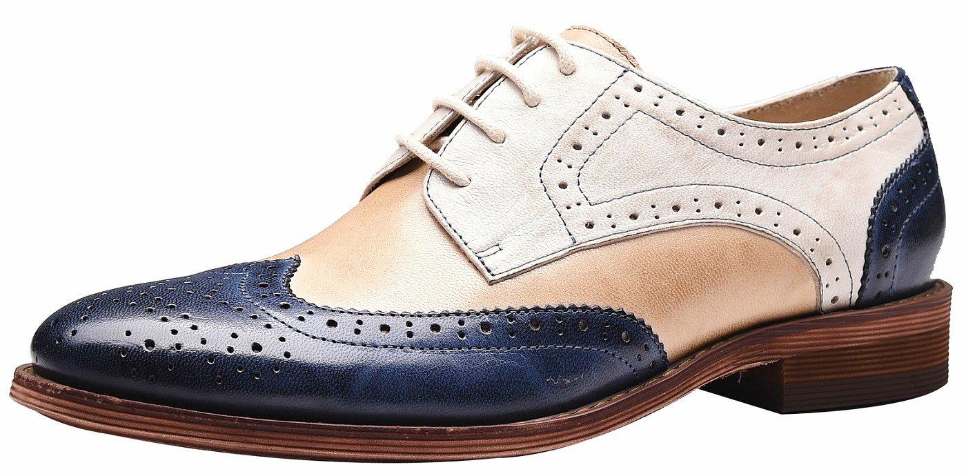 SimpleC Mujer Perforada con Cordones Wingtip Multicolor Cuero Plano Oxfords Vintage Oxford Cómodo Zapatos de Oficina 38.5 EU|Blanco Azul