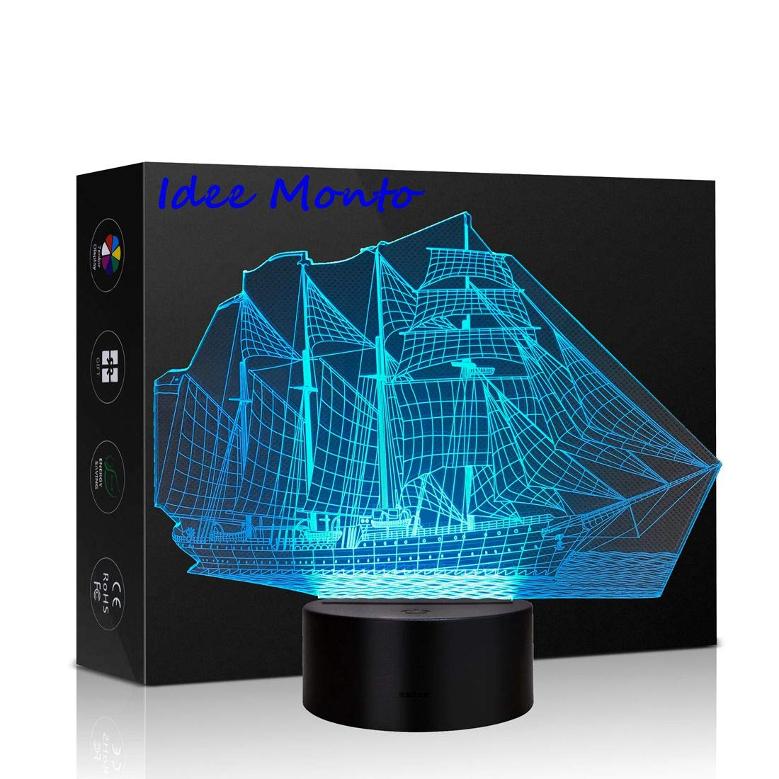3D LED Illusion Light USB Night Lamp Desk Table Light 7 Colors Changing Touch Control Christmas Birthday Gift Kids Toy Bedroom Home Decoration Sailboat