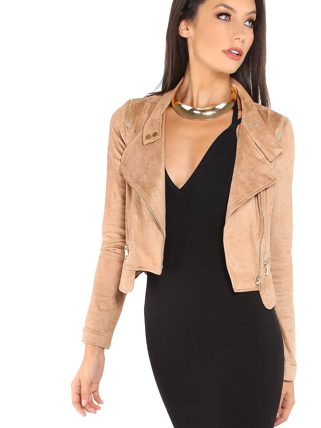 Milumia Women's Causal Suede Lightweight Soft Zip up Moto Biker Jacket L