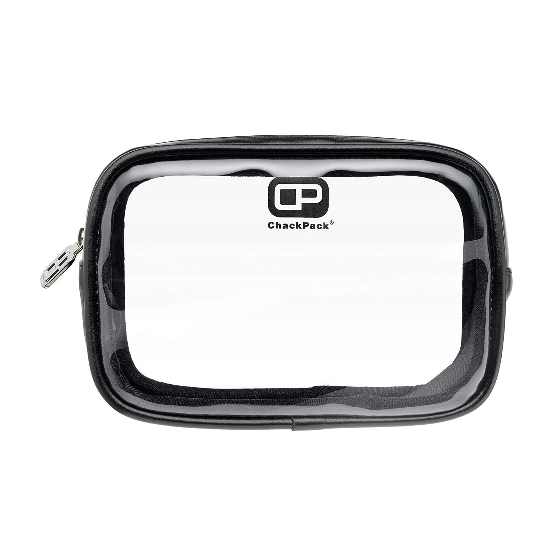 ChackPack Air Leder, durchsichtige Premium Kulturtasche für Handgepäck/Flüssigkeiten / Flugzeug, 1L, Premium Kulturbeutel transparent, Kosmetiktasche durchsichtig