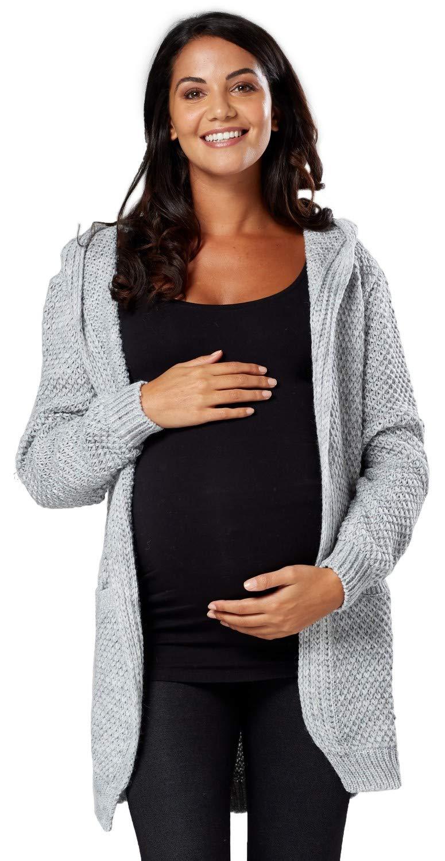 Femme Maternité Tricoté Cardigan à Capuche Pull Ample. 915p One Size EU 1739e3032fe