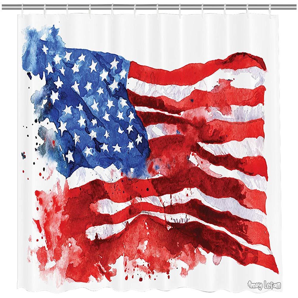 Amoy Lefan American Flag Decor Shower Curtain, National Paint Brush Watercolor Digital Stroke Messy Graffiti Artsy Decor, Fabric Bathroom Decor Set with Hooks, 72 Inch,Red Blue