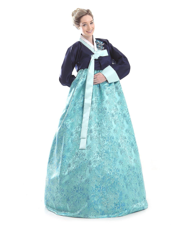 Amazon.com: Custom Made Silk Sky Blue Evening Party Formal Hanbok ...