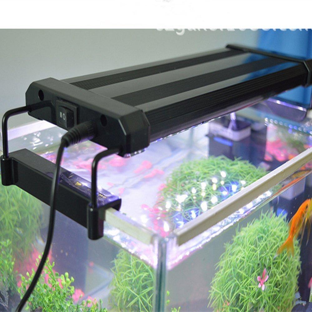 Asvert Lámpara de Acuario Luces LED 2 Modos de Iluminación para Acuarios de Peces y Estanques Soporte Ajustable con Eschufe EU (18): Amazon.es: Iluminación