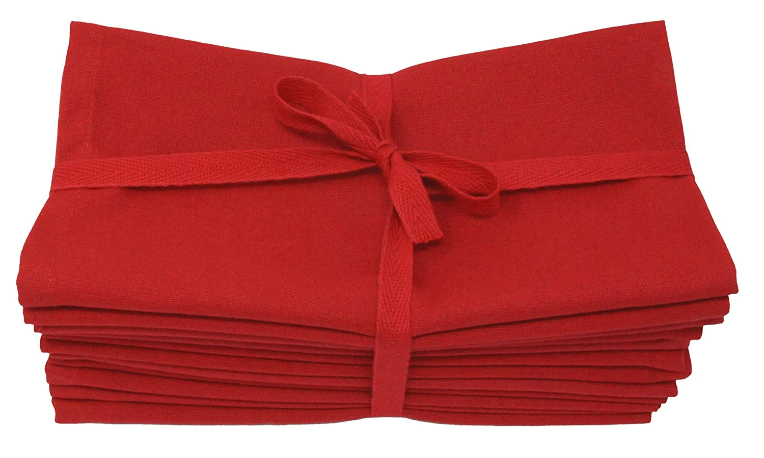 Aunti Em's Kitchen Red Cotton Dinner Napkins Cloth 12 Pack 20x20 100% Natural Oversized Bulk Linens for Dinner, Events, Weddings, Set of 12, Festive Red