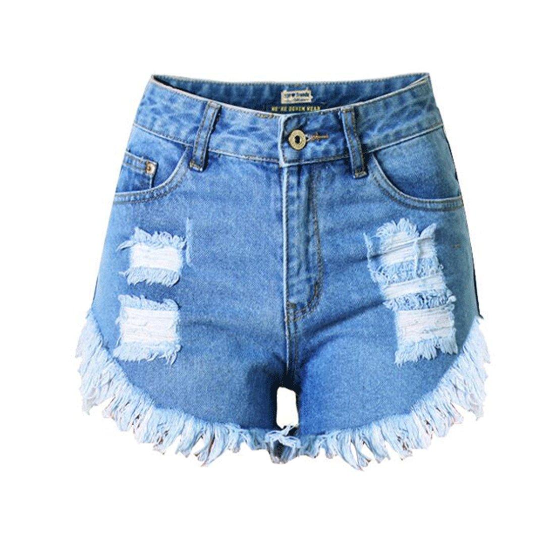 DorkasDE Damen Hotpants Jeans Shorts Kurze Denim Hosen Fransen ...