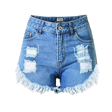 DorkasDE Damen Hotpants Jeans Shorts Kurze Denim Hosen Fransen Verarbeiten Mädchen  Shorts mit Quaste 2e8af2c129