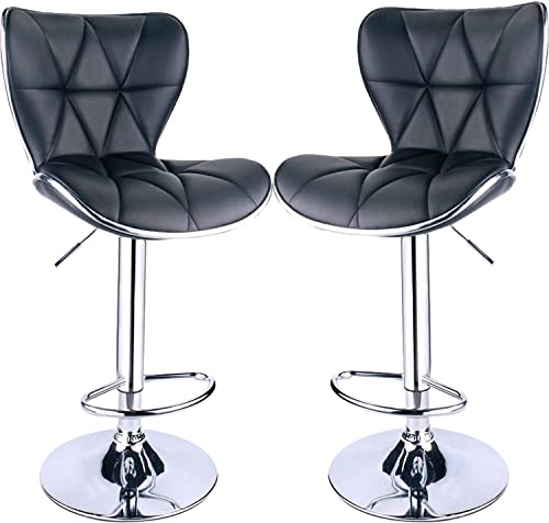 Leader Shell Back Bar Stools Set of 2, Adjustable Bar Stool with Back, Swivel Barstools Black