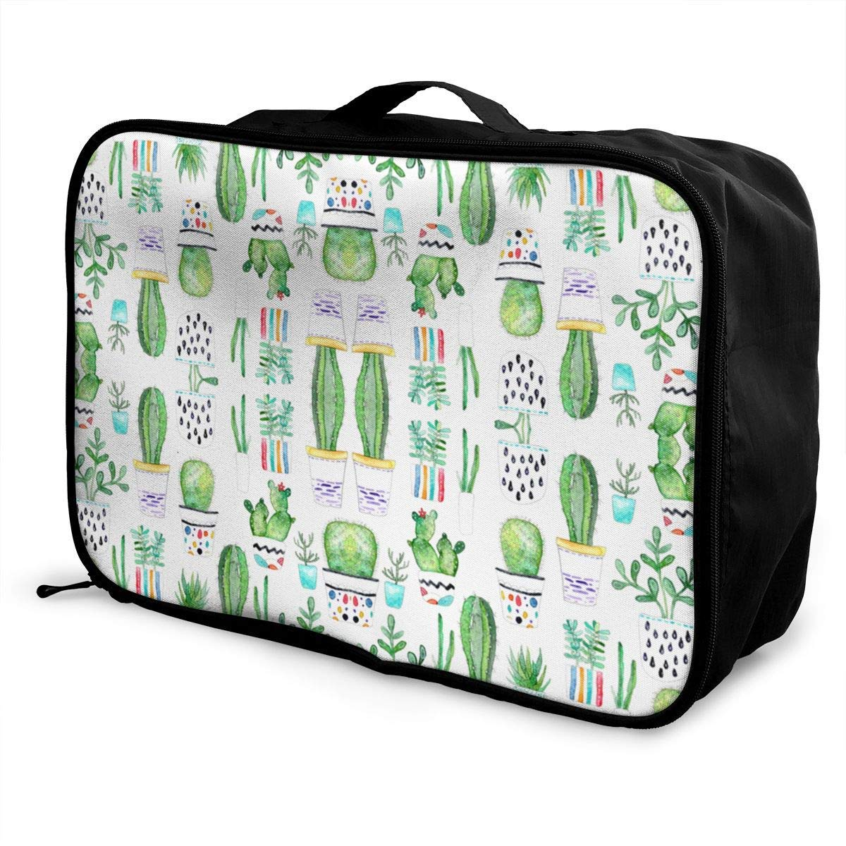 Travel Lightweight Waterproof Foldable Storage Carry Luggage Duffle Tote Bag JTRVW Luggage Bags for Travel Watercolour Succulents Cactus