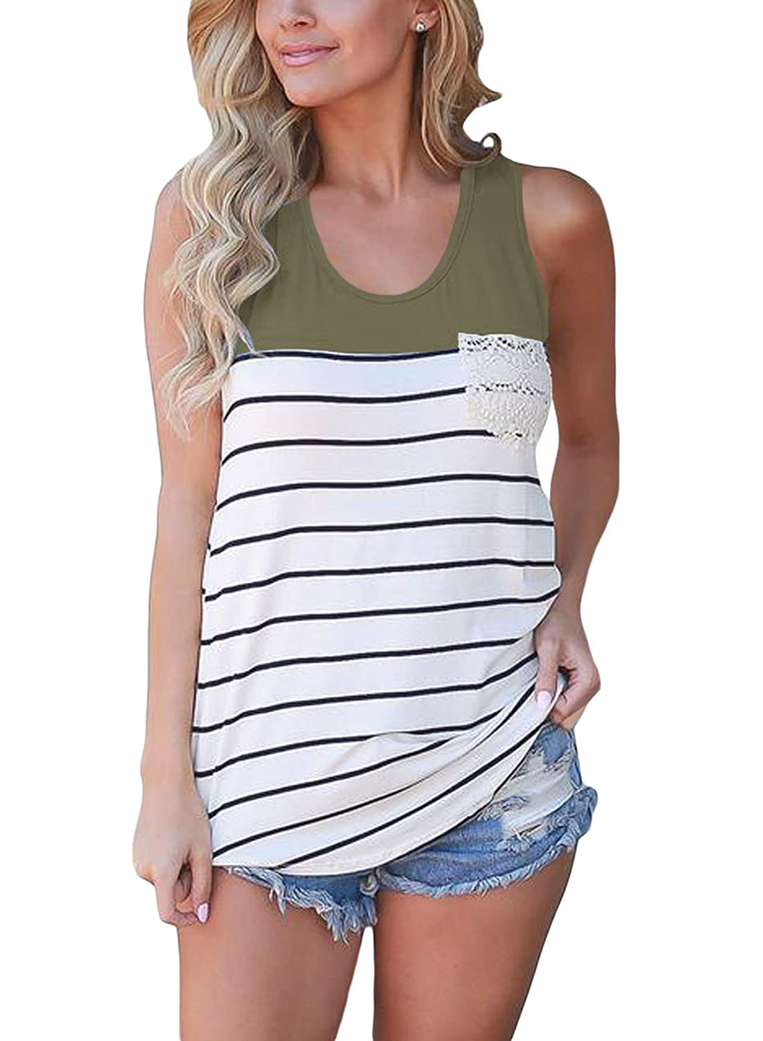 adacf726d5 Summer Tank Tops For Women Casual Blouses Racerback top in casual loose  fit. Scoop neck, sleeveless and round hemline. Made of soft quality fabric,  ...