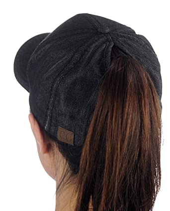 18df4028fb1 C.C Ponycap Messy High Bun Ponytail Adjustable Cotton Baseball Cap ...