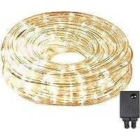 LED Luz Manguera 10M 240luces LED con 8modos Luces unidad interior y exterior para sala, Jardín, Navidad, bodas, fiestas–Blanco Cálido Tubo de luz
