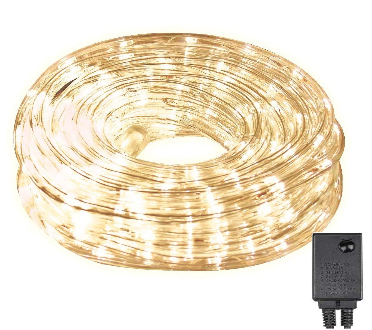 LED Lichterschlauch 10m 240er LED Lichter mit 8 Modi Innen und Außenbereich Lauflichter für Saal, Garten, Weihnachten, Hochzeit, Party - Warmweiß Lichtschläuche Salcar