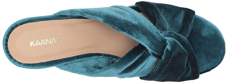 KAANAS Womens Edinburgh Knotted Open Toe Slide Chunky Heel Pump