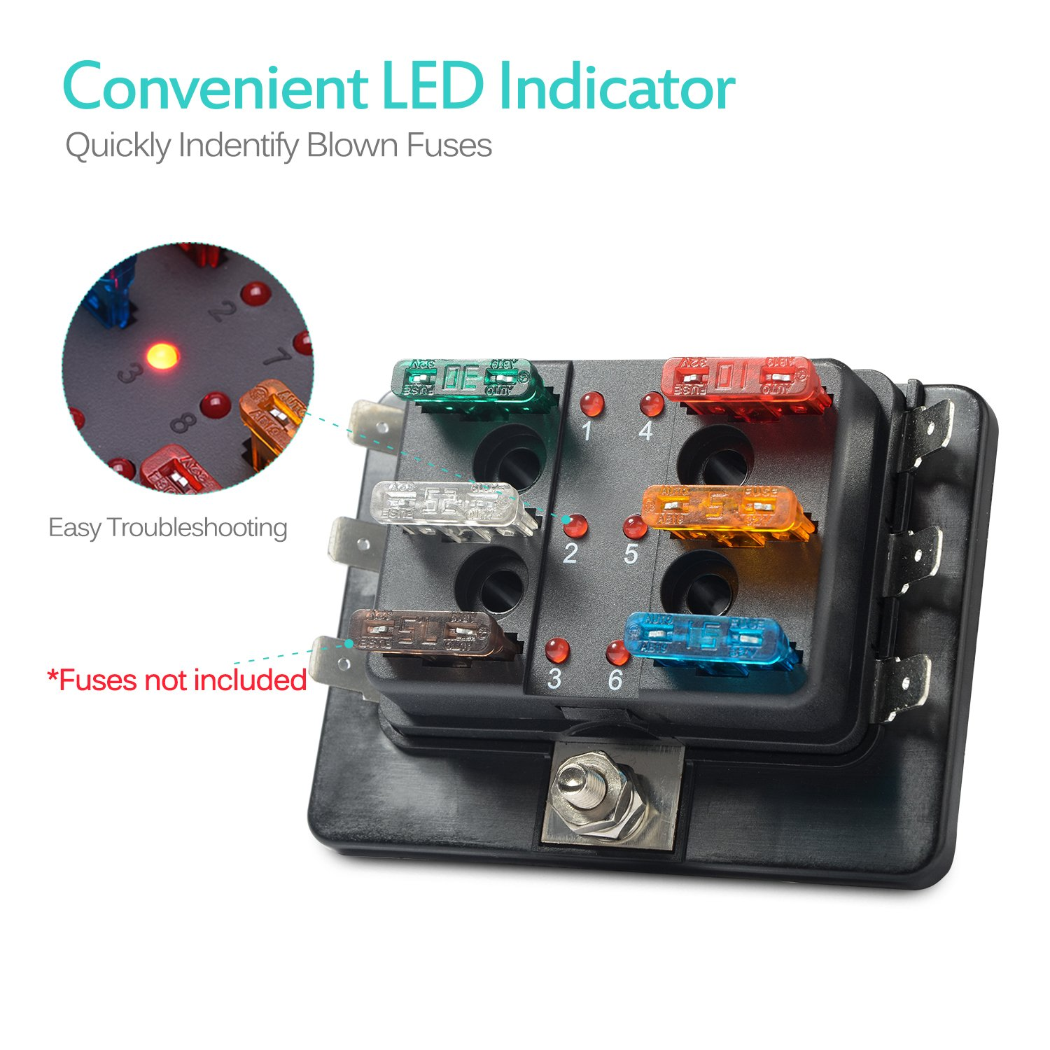 Mictuning Fuse Box 32v Universal Blade Board Block Car With Led Indicate Light Clear Cover For
