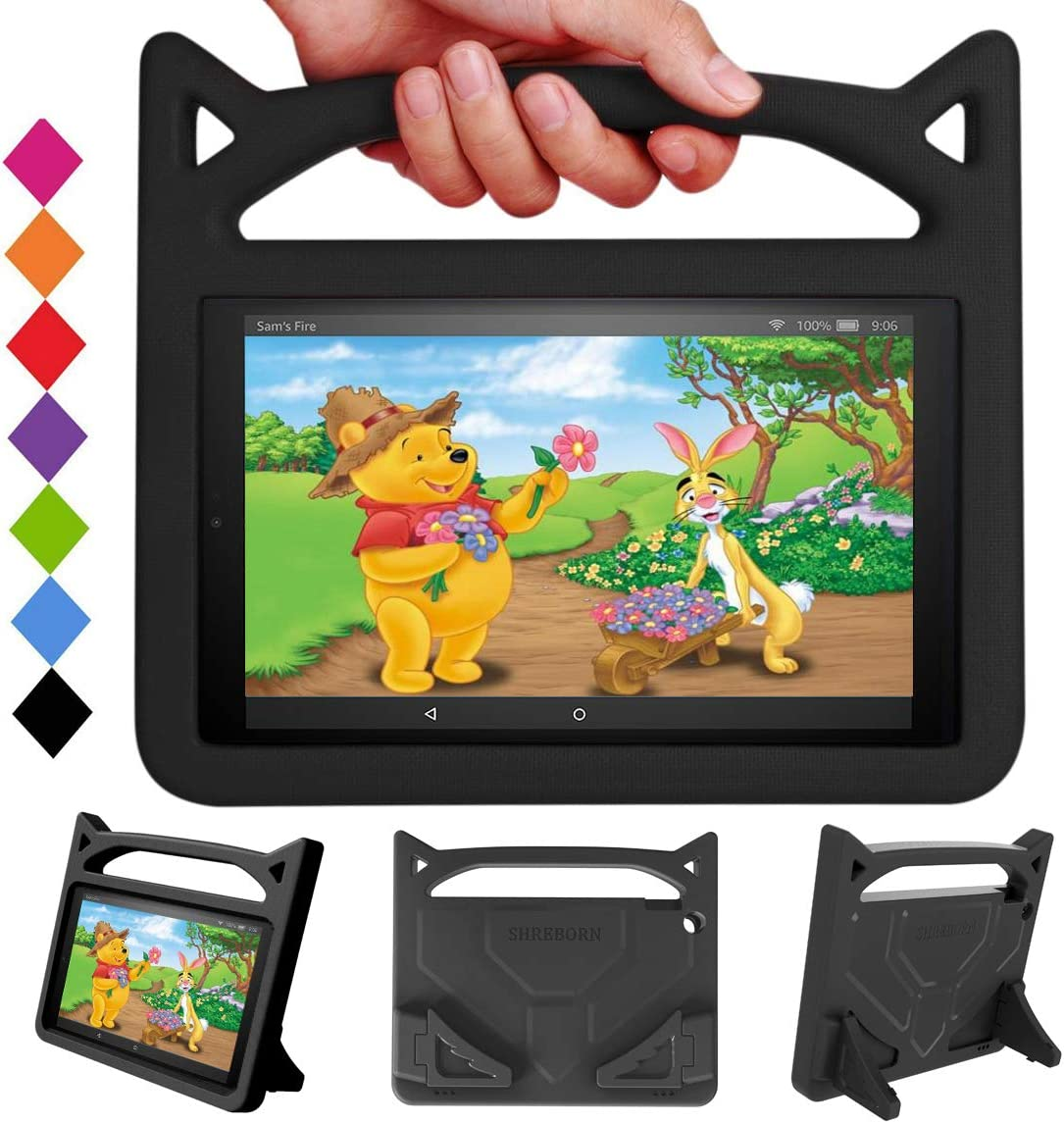 New HD 10 Tablet Kids Case - SHERBORN Lightweight Shockproof with Stand Kid-Proof Cover Cat Ear Handle Kids Case for All New HD 10 Tablet(9th/7th/5th Generation, 2019/2017/2015 Release) (Black)