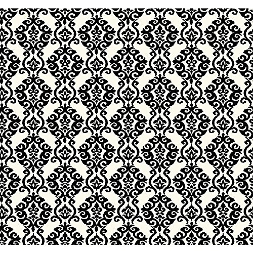 Cottage Wallpaper Prints - York Wallcoverings ER8173 Waverly Cottage Luminary Wallpaper, Ivory White/Ebony Black