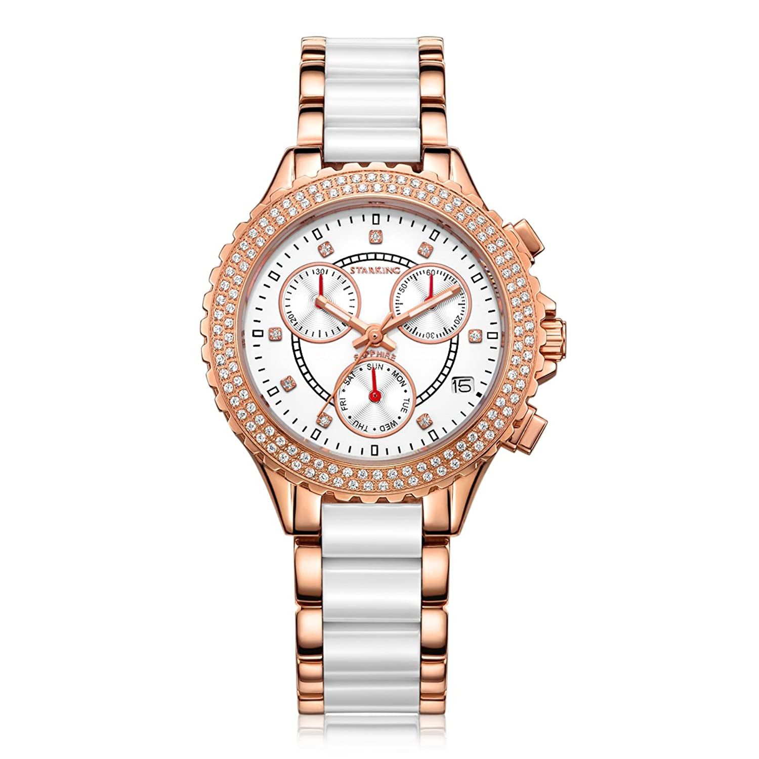 Starking Damen Keramik Analog Display Swiss Quartz Rose Gold Watch (Modell: bl0630rc31)
