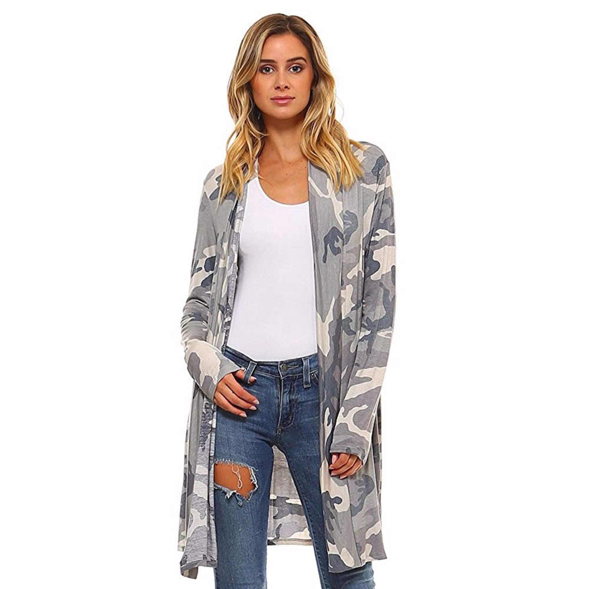 BCDshop Women Camo Kimono Cardigan Top Cover up Loose Boho Shawl Long Sleeve Blouse Coat Outwear (Asian Size:S US Size:10)