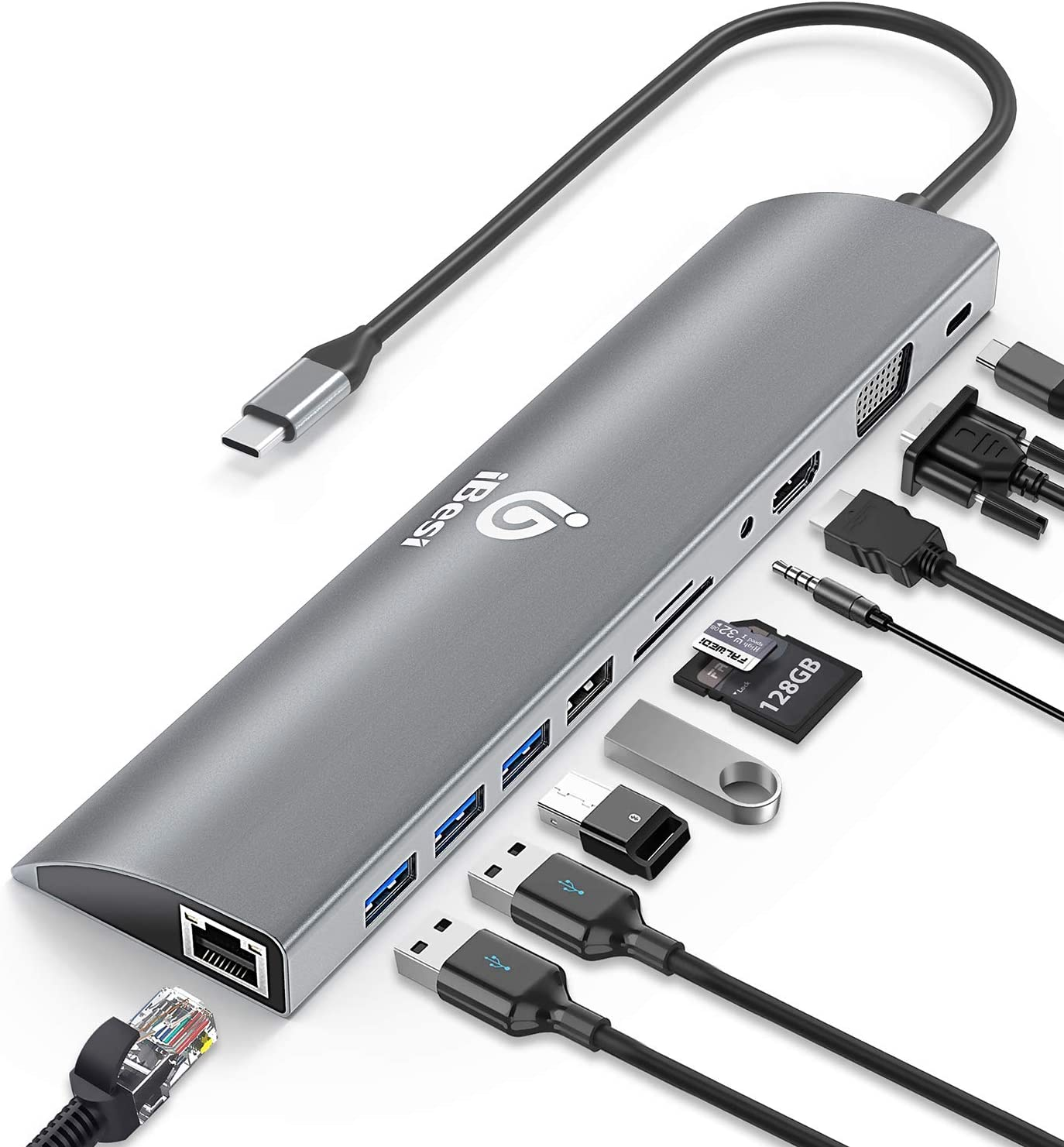 USB C Hub, iBesi 11 in 1 USB-C Laptop Docking Station with Gigabit Ethernet Port 30CM Cable, 4K HDMI, VGA, 3 USB3.0, 1 USB2.0, SD/TF Cards Reader, USB-C PD 3.0, Audio Only for MacBook, iPad, Dell