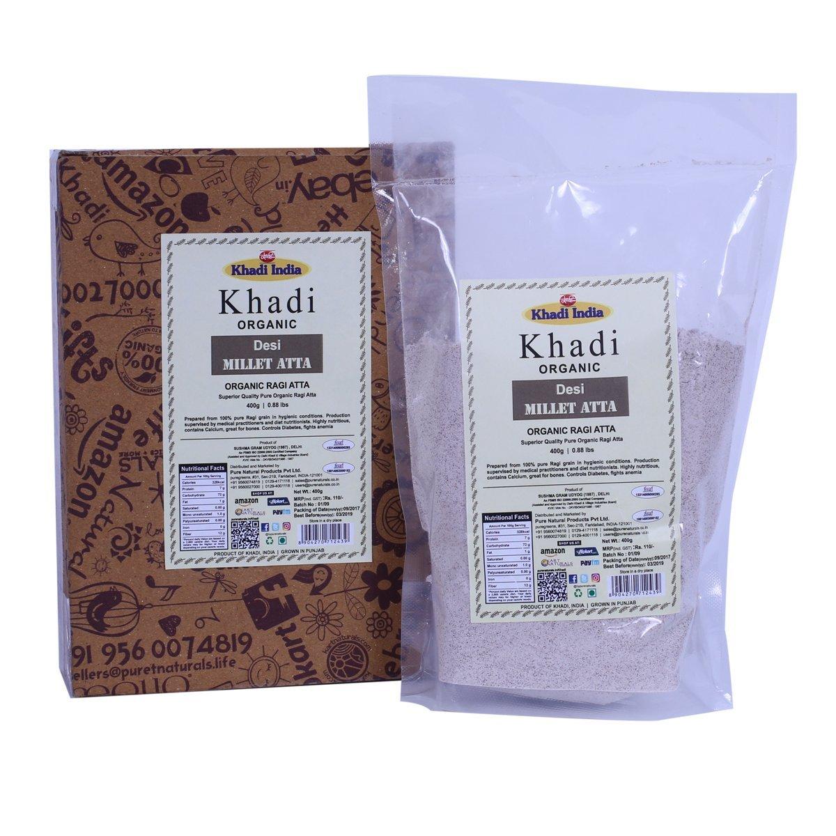 Khadi Organic Pure Ragi Atta (Finger Millet Flour) 400 GM - 100% Natural, Gluten-Free, Healthy Organic Food High-Fibre Flour, Controls Weight Gain, Excellent for Diabetics