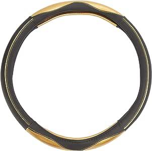 Leather Splicing Steering Wheel Sleeve Black