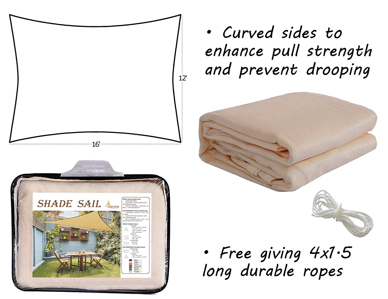 LOVE STORY Rectangle 2 x 3 m Cream UV Block Sun Shade Sail Awning for Outdoor Patio Garden