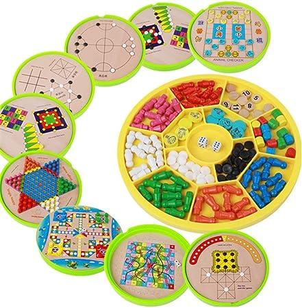 Juegos de mesa Madera for niños bloques de construcción multifunción 16-en-1 Checkers Flying Junta Backgammon Juego Juguetes educativos chinos Checkers Ayuda a desarrollar habilidades sociales: Amazon.es: Hogar