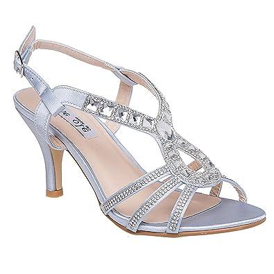 Silver Low Heel Wedding Shoes | Amazon Com Lara S Womens Evening Dress Sandal Low Heels Wedding