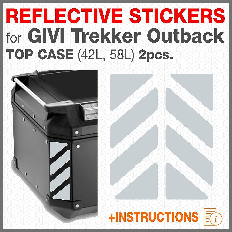 Bleu 2pcs Adh/ésif R/éfl/échissant Compatible avec Givi Top Case Trekker Outback Monokey Aluminium Top Case 37 42 48 L
