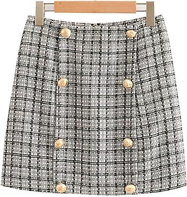Malcolm12311 Skirt Falda de Pata de Gallo con botón para Decorar ...