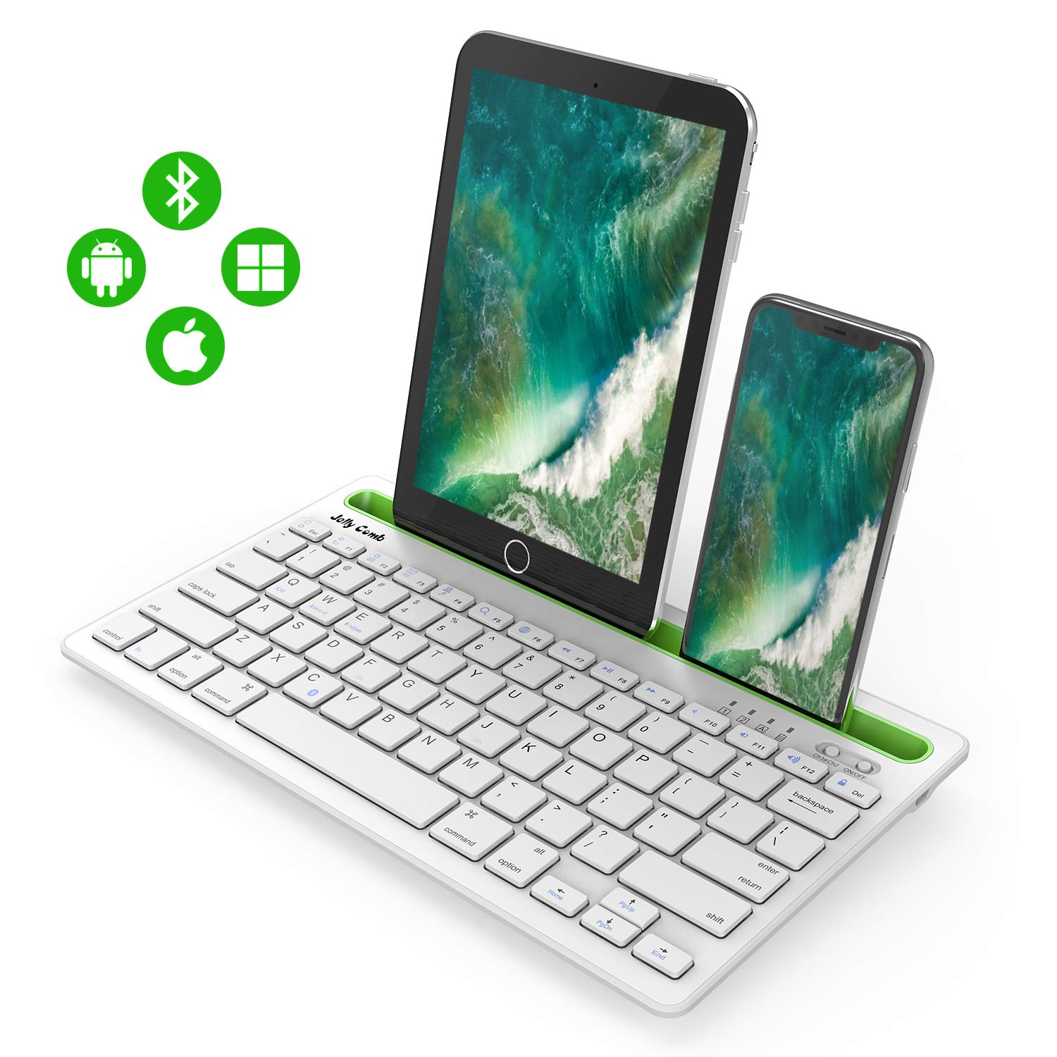 Bluetooth Keyboard, Jelly Comb BK230 Dual Channel Multi-Device Universal Wireless Bluetooth Rechargeable Keyboard with Sturdy Stand for Tablet Smartphone PC Windows Android iOS Mac (White and Green)