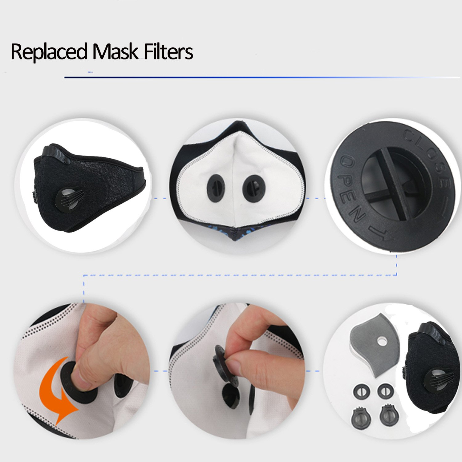 Dustproof Mask - Activated Carbon Dust Masks - with Extra Filter Cotton Sheet and Valves for Exhaust Gas, Anti Pollen Allergy, PM2.5, Running, Cycling, Outdoor Activities (2 Pack Black+Black, Type 1) by Infityle (Image #4)
