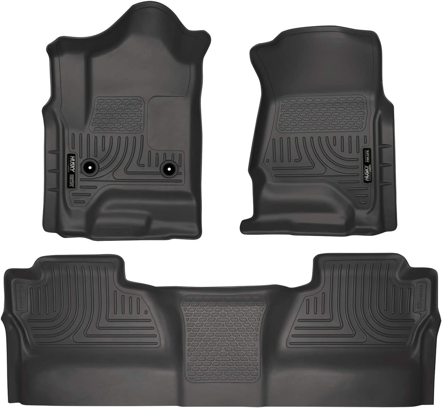 Husky Liners 98231 Black Weatherbeater Front & 2nd Seat Floor Liners Fits 2014-2018 Chevrolet-GMC Silverado/Sierra 1500 Crew Cab, 2015-2019 Chevrolet-GMC Silverado/Sierra 2500/3500 HD Crew Cab