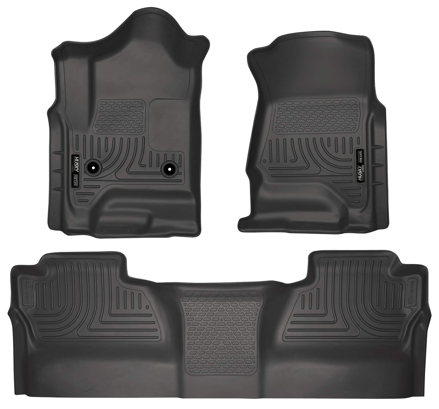Husky Liners 98231 Black Weatherbeater Front & 2nd Seat Floor Liners Fits 2014-2018 Chevrolet-GMC Silverado/Sierra 1500 Crew Cab, 2015-2019 Chevrolet-GMC Silverado/Sierra 2500/3500 HD Crew Cab by Husky Liners