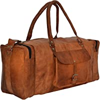 Leather Duffle Bag Unisex Brown Travel Bag