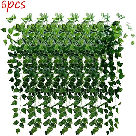 STRIR 6pcs Plantas Enredaderas Artificiales Exterior simulación de Plantas Colgantes de plástico Verde decoración para Pared Boda Jardin cafetería (Rábano Verde): Amazon.es: Hogar