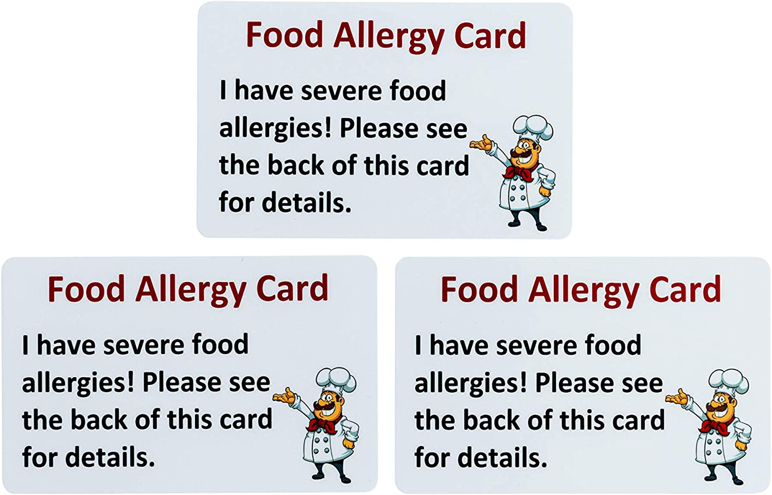 Write on Food Allergy Pack of 3 Chef Card Peanut Seafood Emergency Reaction Allergy