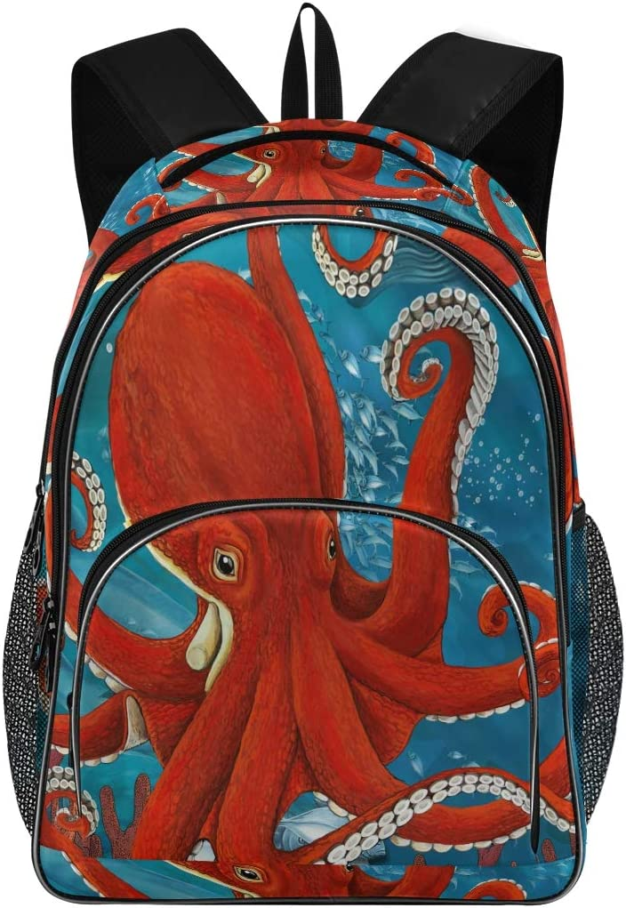 Laptop Backpack Rucksack with USB Charging Port Unsex Big Business Backpack Octopus Pattern Suitable for School Bags Under 15.6 Inch