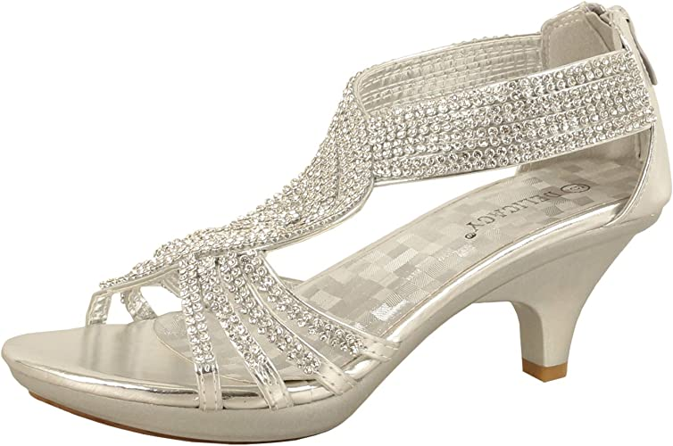 Jjf Shoes 62 Womens Strappy Rhinestone Dress Sandal Low Heel Shoes