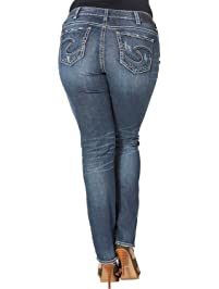 96b4459bcf3 Silver Jeans Co. Women s Plus Size Suki Curvy Fit Mid Rise Straight Leg  Jeans