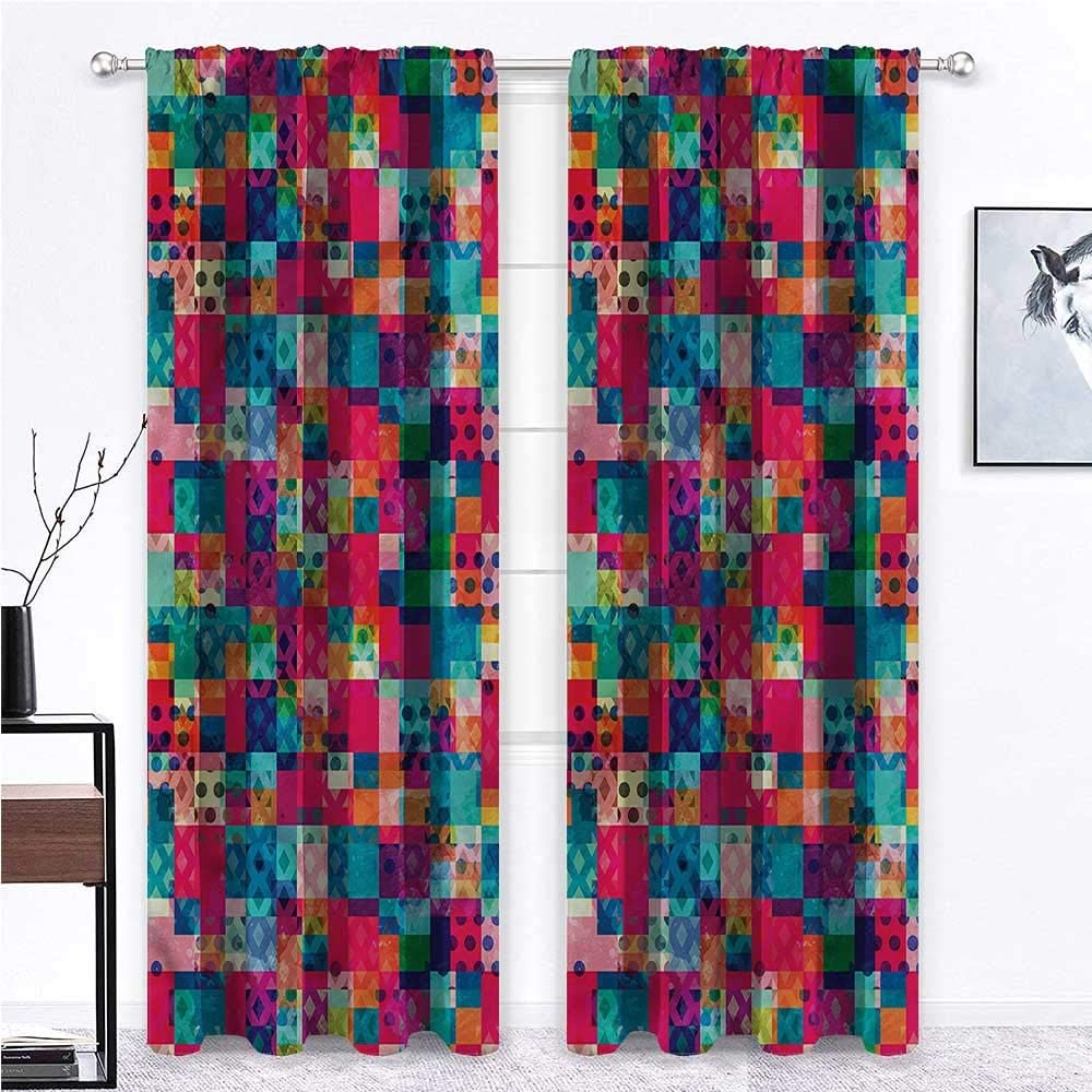 French Door Curtains Geometric for Kitchen Cafe Decor Italian Grunge Dots 108 x 72 Inch (2 Panels)