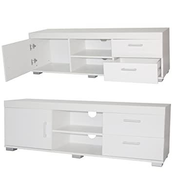Tv Unit White High Gloss Cabinet Wooden Tv Stand Amazon Co Uk